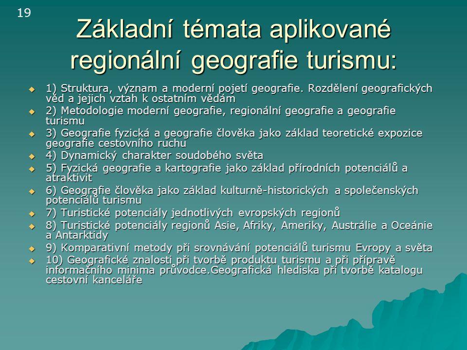 Základní témata aplikované regionální geografie turismu:  1) Struktura, význam a moderní pojetí geografie. Rozdělení geografických věd a jejich vztah