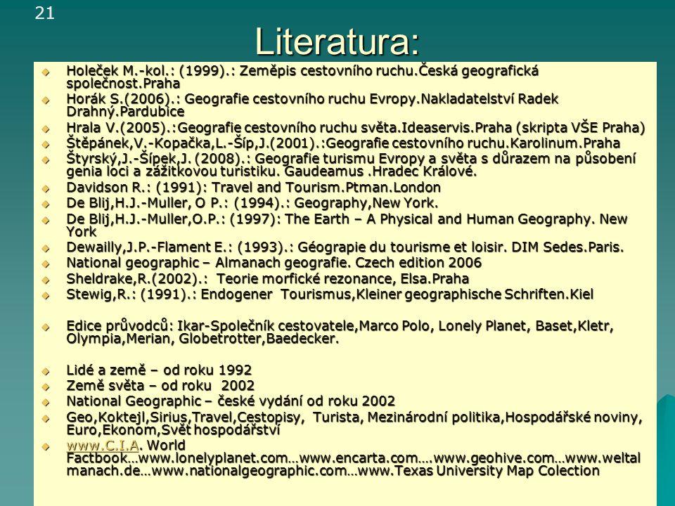 Literatura:  Holeček M.-kol.: (1999).: Zeměpis cestovního ruchu.Česká geografická společnost.Praha  Horák S.(2006).: Geografie cestovního ruchu Evro