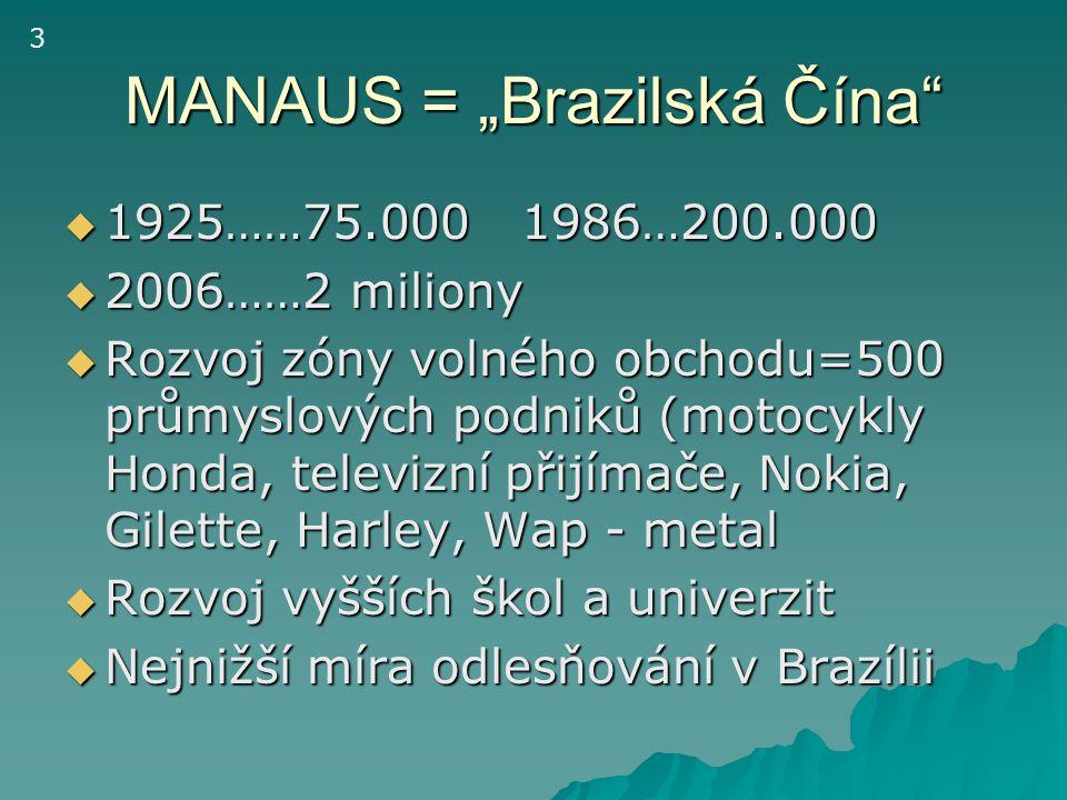 "MANAUS = ""Brazilská Čína""  1925……75.000 1986…200.000  2006……2 miliony  Rozvoj zóny volného obchodu=500 průmyslových podniků (motocykly Honda, telev"