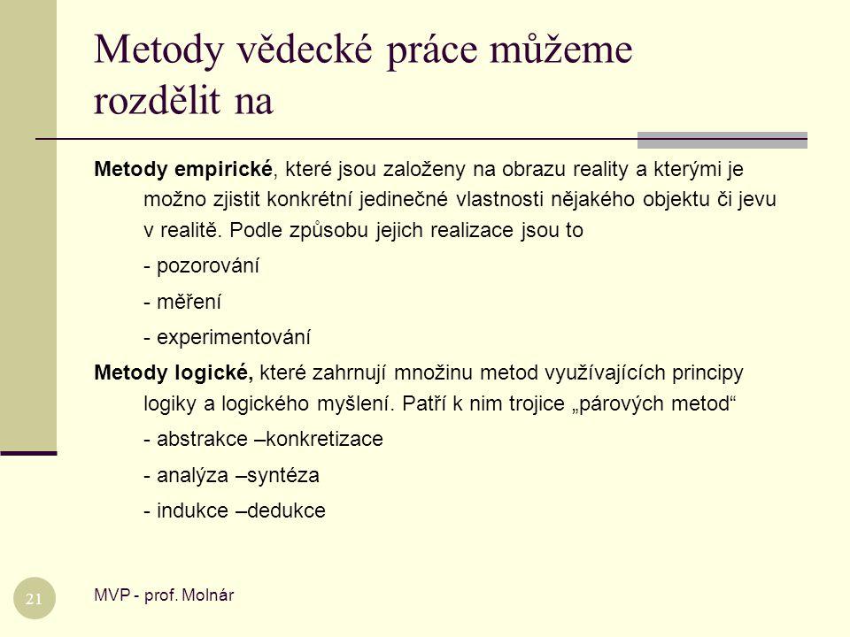 Metody vědecké práce můžeme rozdělit na MVP - prof. Molnár 21 Metody empirické, které jsou založeny na obrazu reality a kterými je možno zjistit konkr