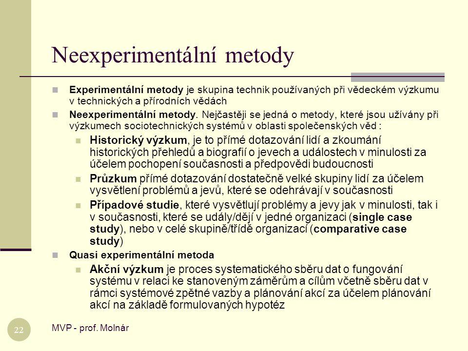 Neexperimentální metody MVP - prof. Molnár 22  Experimentální metody je skupina technik používaných při vědeckém výzkumu v technických a přírodních v