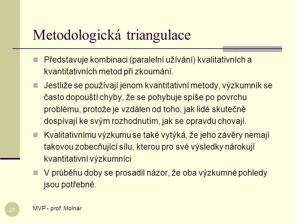 Metodologická triangulace MVP - prof. Molnár 25  Představuje kombinaci (paralelní užívání) kvalitativních a kvantitativních metod při zkoumání.  Jes