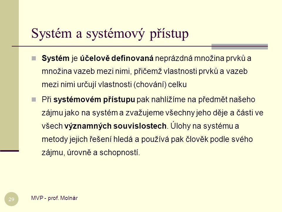 Systém a systémový přístup MVP - prof. Molnár 29  Systém je účelově definovaná neprázdná množina prvků a množina vazeb mezi nimi, přičemž vlastnosti