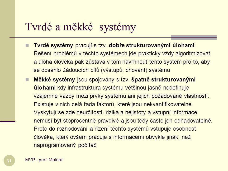 Tvrdé a měkké systémy MVP - prof. Molnár 31  Tvrdé systémy pracují s tzv. dobře strukturovanými úlohami. Řešení problémů v těchto systémech jde prakt