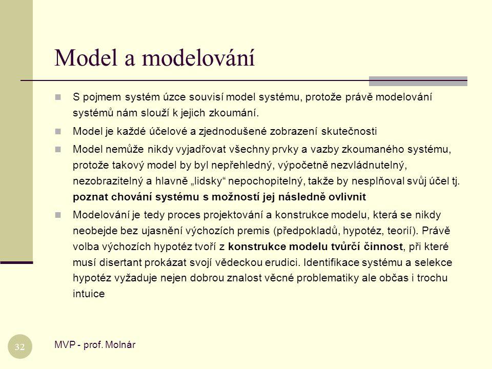 Model a modelování MVP - prof. Molnár 32  S pojmem systém úzce souvisí model systému, protože právě modelování systémů nám slouží k jejich zkoumání.