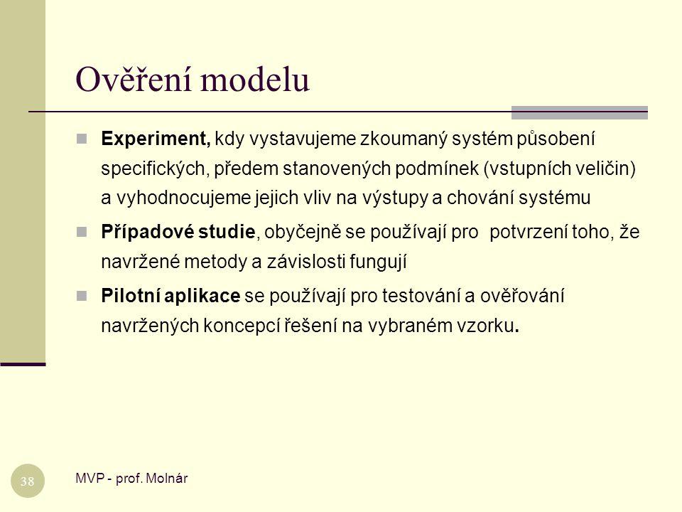 Ověření modelu MVP - prof. Molnár 38  Experiment, kdy vystavujeme zkoumaný systém působení specifických, předem stanovených podmínek (vstupních velič