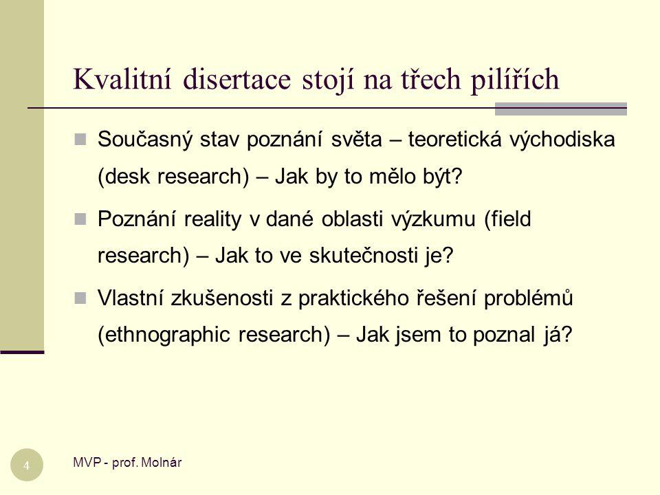 Kvalitní disertace musí mít správnou strukturu MVP - prof.