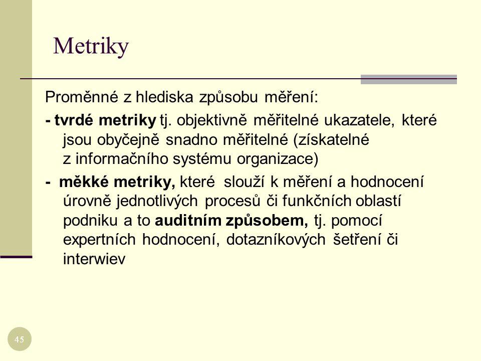 Metriky Proměnné z hlediska způsobu měření: - tvrdé metriky tj. objektivně měřitelné ukazatele, které jsou obyčejně snadno měřitelné (získatelné z inf