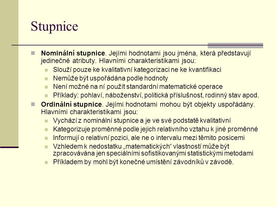 Stupnice  Nominální stupnice. Jejími hodnotami jsou jména, která představují jedinečné atributy. Hlavními charakteristikami jsou:  Slouží pouze ke k