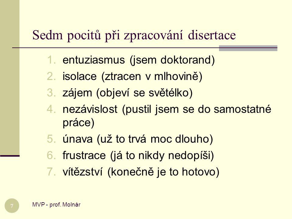 Sedm pocitů při zpracování disertace MVP - prof. Molnár 7 1.entuziasmus (jsem doktorand) 2.isolace (ztracen v mlhovině) 3.zájem (objeví se světélko) 4