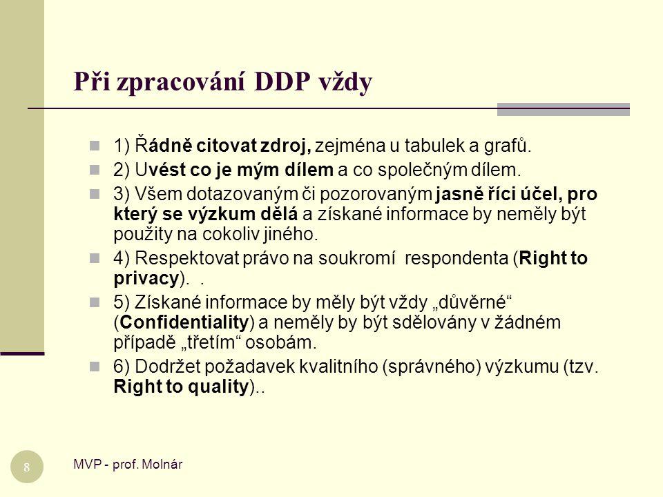 Při zpracování DDP vždy MVP - prof. Molnár 8  1) Řádně citovat zdroj, zejména u tabulek a grafů.  2) Uvést co je mým dílem a co společným dílem.  3