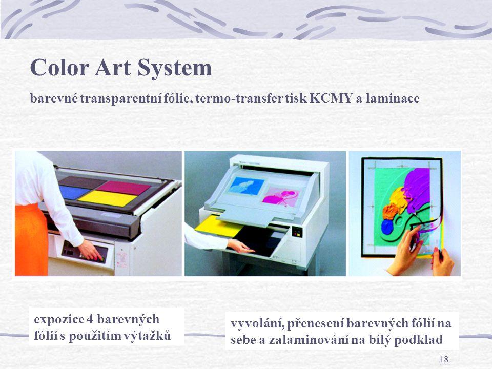 17 Analogový nátisk pracuje s filmovými výtažky, speciálními transparentními fóliemi se světlocitlivou lepící vrstvou a práškovým pigmentem C, M, Y, K .