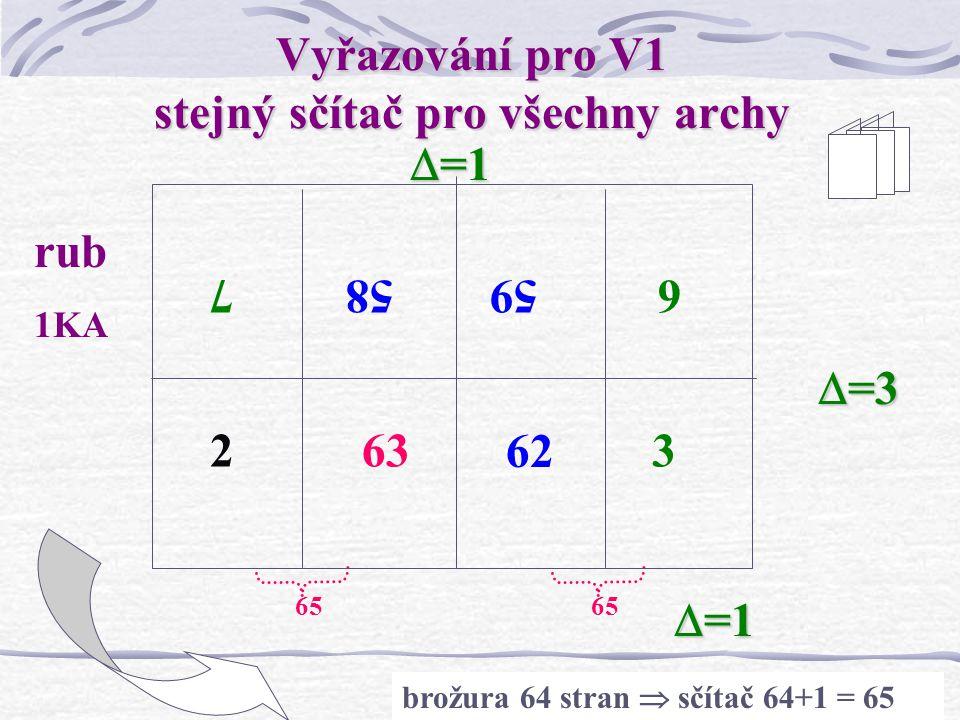 26 Vyřazování pro V1 stejný sčítač pro všechny archy 1 65 64 857605 461 líc 1KA  =1  =3 brožura 64 stran  sčítač 64+1 = 65