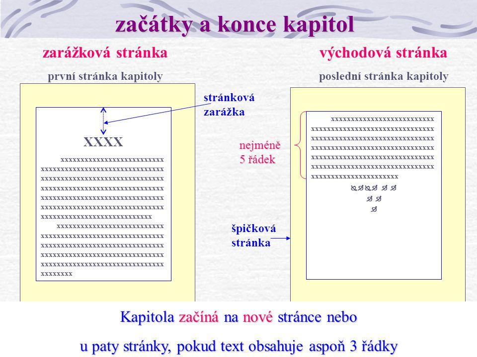 6 Zpracovatelská maketa grafická úprava vzorové stránky celotextové začátky a konce kapitol stránky s tabulkami stránky s obrázky způsob číslování knižní rejstřík (autorský, věcný) marginálie.