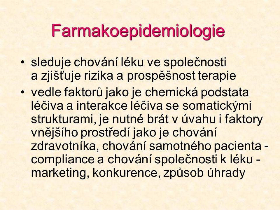 Farmakoepidemiologie •sleduje chování léku ve společnosti a zjišťuje rizika a prospěšnost terapie •vedle faktorů jako je chemická podstata léčiva a in