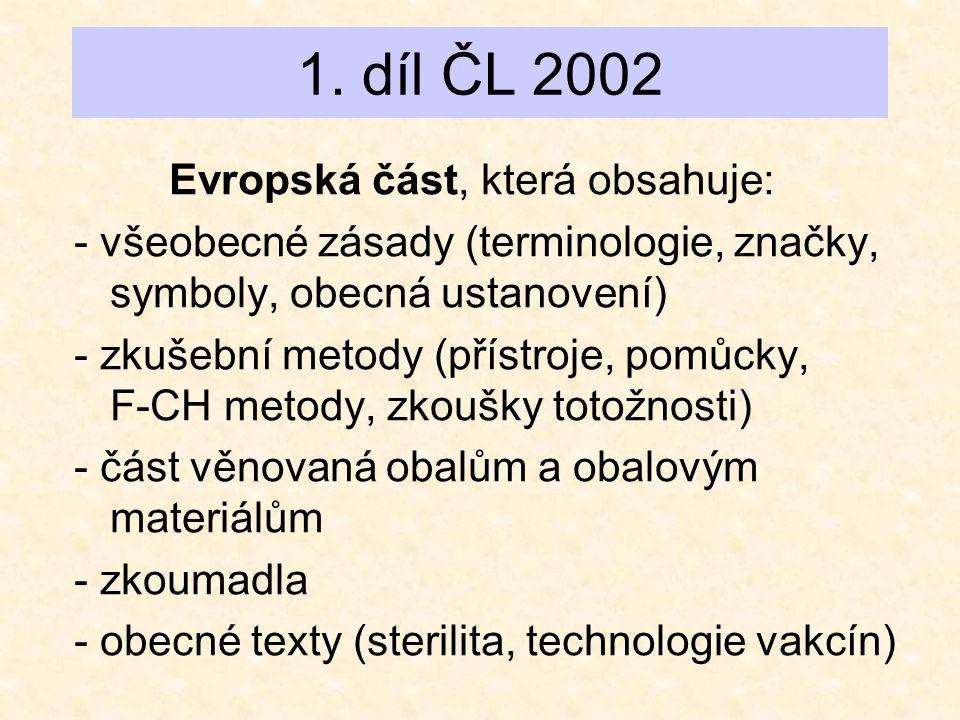 1. díl ČL 2002 Evropská část, která obsahuje: - všeobecné zásady (terminologie, značky, symboly, obecná ustanovení) - zkušební metody (přístroje, pomů