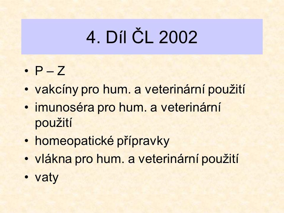 4. Díl ČL 2002 •P – Z •vakcíny pro hum. a veterinární použití •imunoséra pro hum. a veterinární použití •homeopatické přípravky •vlákna pro hum. a vet