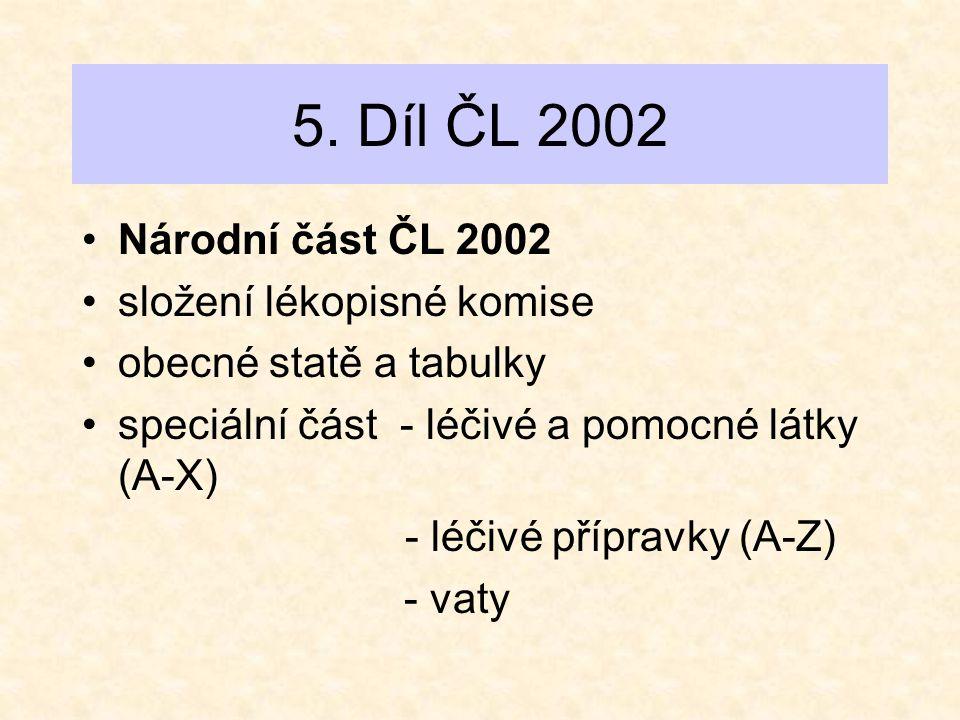 5. Díl ČL 2002 •Národní část ČL 2002 •složení lékopisné komise •obecné statě a tabulky •speciální část - léčivé a pomocné látky (A-X) - léčivé příprav