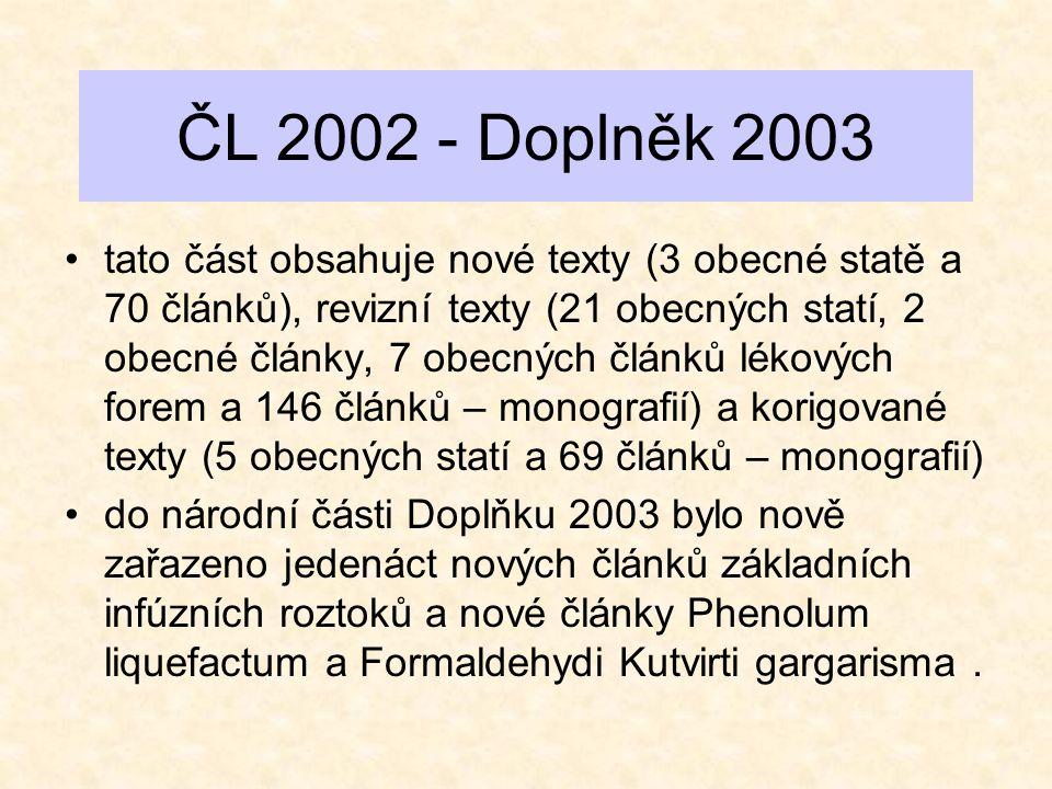 ČL 2002 - Doplněk 2003 •tato část obsahuje nové texty (3 obecné statě a 70 článků), revizní texty (21 obecných statí, 2 obecné články, 7 obecných člán