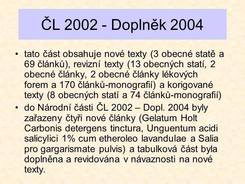 ČL 2002 - Doplněk 2004 •tato část obsahuje nové texty (3 obecné statě a 69 článků), revizní texty (13 obecných statí, 2 obecné články, 2 obecné články