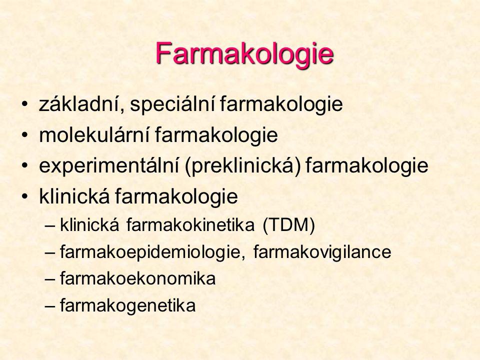 Farmakologie •základní, speciální farmakologie •molekulární farmakologie •experimentální (preklinická) farmakologie •klinická farmakologie –klinická f