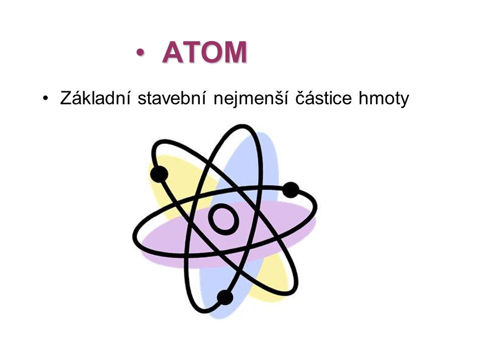 • ATOM •Základní stavební nejmenší částice hmoty