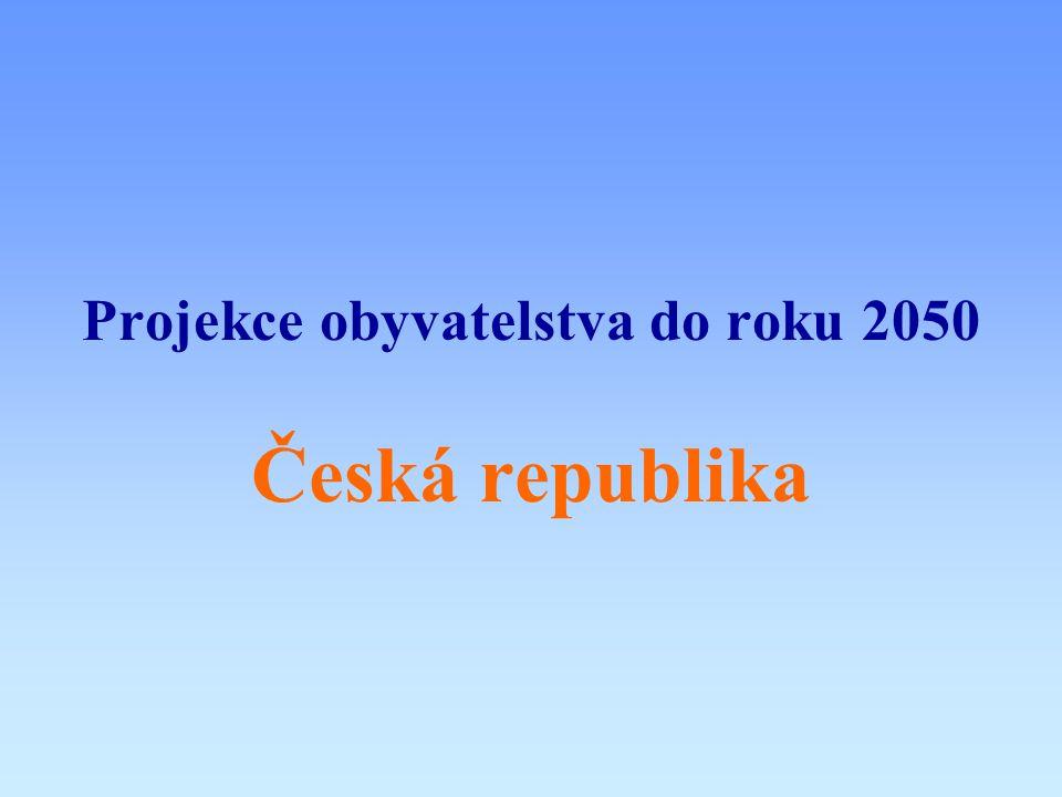 Úvodní informace oprojekce obyvatelstva České republiky byla zpracována ve třech variantách (nízká, střední, vysoká), lišících se scénáři očekávaného vývoje ozákladním vstupním údajem byly počty obyvatel ČR podle pohlaví a věku, vybilancované k 31.12.2002 ove všech variantách po celé období výpočtu uvažováno konstantní migrační saldo (jednotlivé varianty se liší jeho výší)
