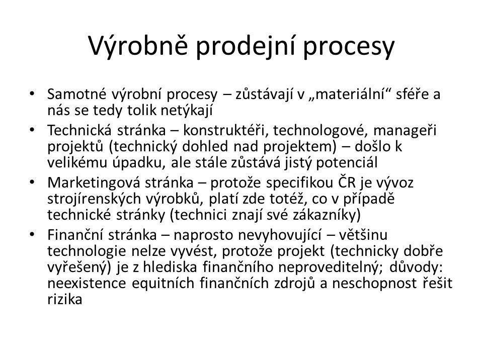 """Výrobně prodejní procesy • Samotné výrobní procesy – zůstávají v """"materiální"""" sféře a nás se tedy tolik netýkají • Technická stránka – konstruktéři, t"""