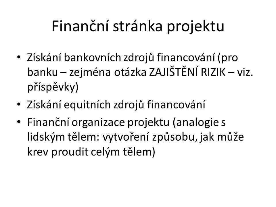 Finanční stránka projektu • Získání bankovních zdrojů financování (pro banku – zejména otázka ZAJIŠTĚNÍ RIZIK – viz. příspěvky) • Získání equitních zd