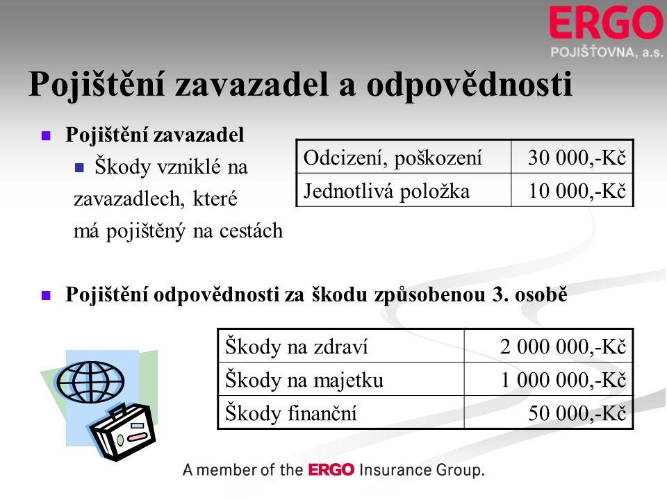 Pojištění zavazadel a odpovědnosti   Pojištění zavazadel   Škody vzniklé na zavazadlech, které má pojištěný na cestách   Pojištění odpovědnosti