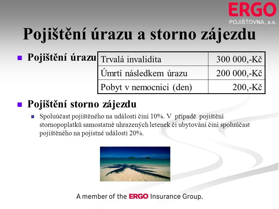 Pojištění úrazu a storno zájezdu   Pojištění úrazu   Pojištění storno zájezdu   Spoluúčast pojištěného na události činí 10%. V případě pojištění