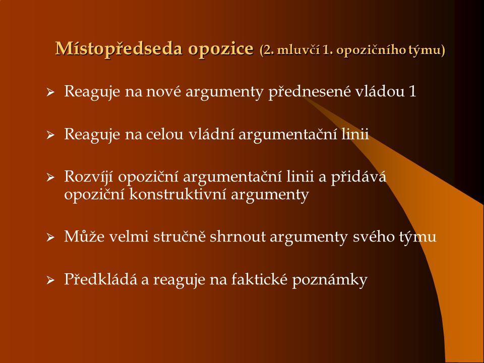 Místopředseda opozice (2. mluvčí 1. opozičního týmu)  Reaguje na nové argumenty přednesené vládou 1  Reaguje na celou vládní argumentační linii  Ro
