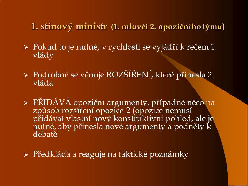 1. stínový ministr (1. mluvčí 2. opozičního týmu)  Pokud to je nutné, v rychlosti se vyjádří k řečem 1. vlády  Podrobně se věnuje ROZŠÍŘENÍ, které p