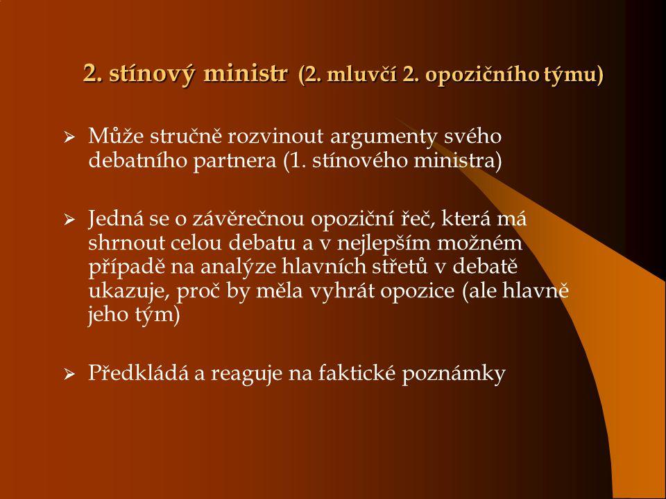 2. stínový ministr (2. mluvčí 2. opozičního týmu)  Může stručně rozvinout argumenty svého debatního partnera (1. stínového ministra)  Jedná se o záv