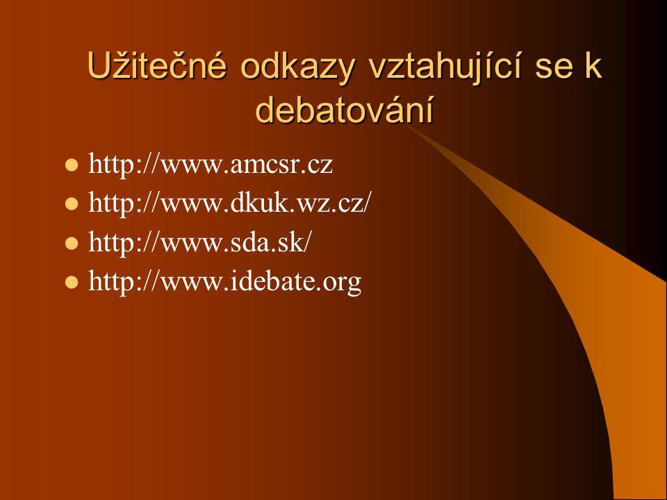 Užitečné odkazy vztahující se k debatování  http://www.amcsr.cz  http://www.dkuk.wz.cz/  http://www.sda.sk/  http://www.idebate.org
