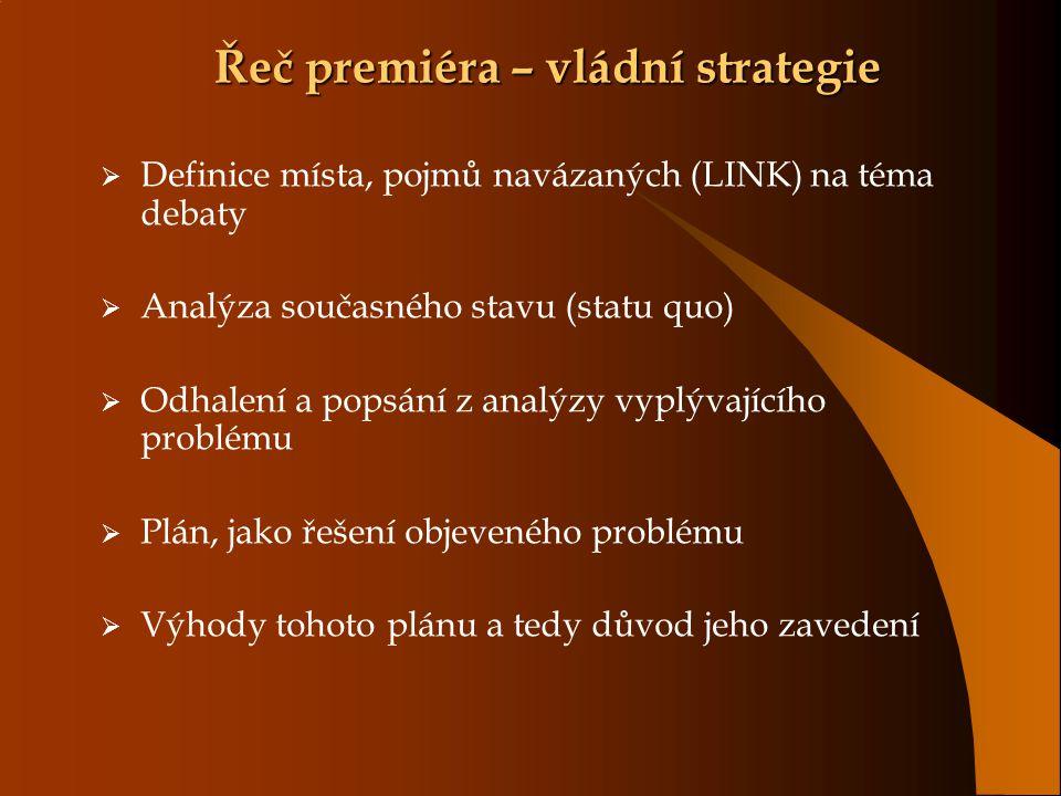Řeč premiéra – vládní strategie  Definice místa, pojmů navázaných (LINK) na téma debaty  Analýza současného stavu (statu quo)  Odhalení a popsání z analýzy vyplývajícího problému  Plán, jako řešení objeveného problému  Výhody tohoto plánu a tedy důvod jeho zavedení
