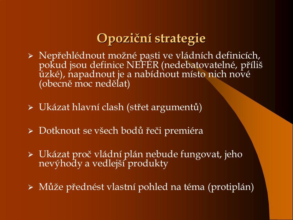 Opoziční strategie  Nepřehlédnout možné pasti ve vládních definicích, pokud jsou definice NEFÉR (nedebatovatelné, příliš úzké), napadnout je a nabídn