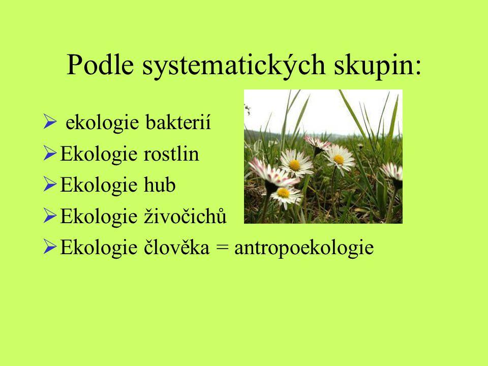Podle systematických skupin:  ekologie bakterií  Ekologie rostlin  Ekologie hub  Ekologie živočichů  Ekologie člověka = antropoekologie