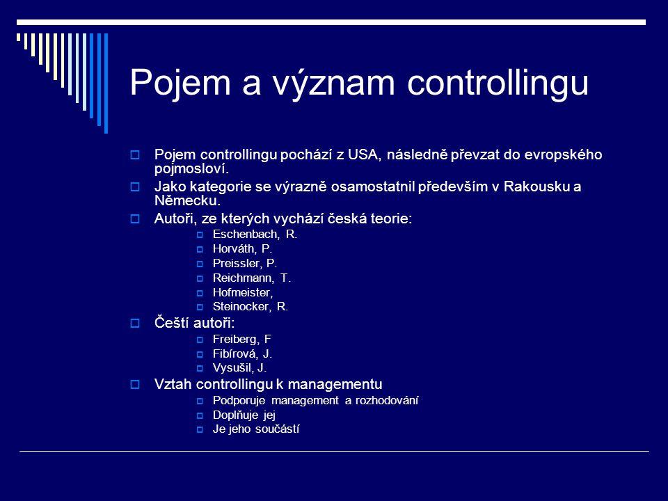 Pojem a význam controllingu  Pojem controllingu pochází z USA, následně převzat do evropského pojmosloví.
