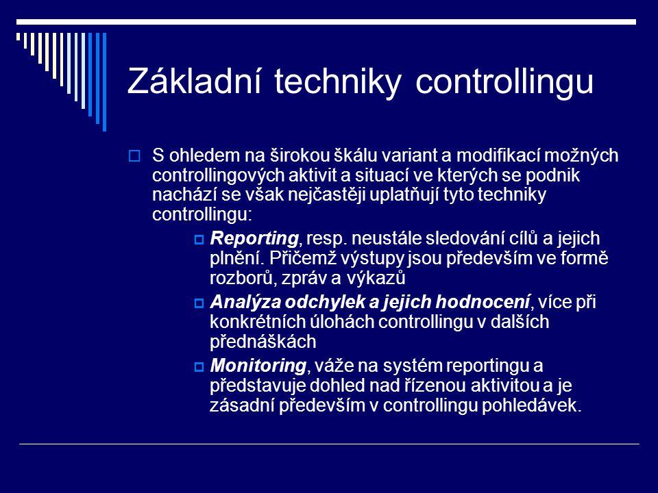 Základní techniky controllingu  S ohledem na širokou škálu variant a modifikací možných controllingových aktivit a situací ve kterých se podnik nachází se však nejčastěji uplatňují tyto techniky controllingu:  Reporting, resp.