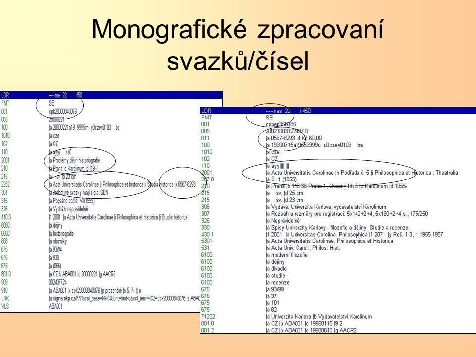 Monografické zpracovaní svazků/čísel