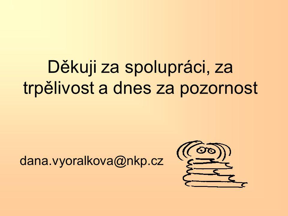 Děkuji za spolupráci, za trpělivost a dnes za pozornost dana.vyoralkova@nkp.cz