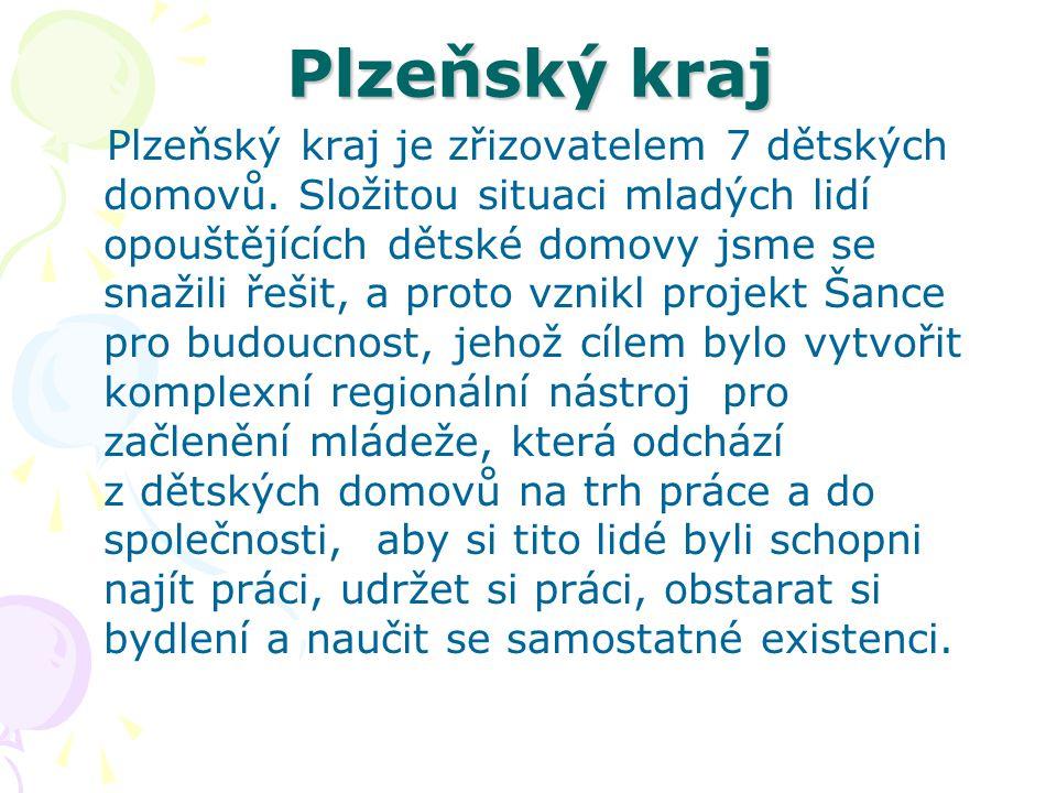 Plzeňský kraj Plzeňský kraj je zřizovatelem 7 dětských domovů. Složitou situaci mladých lidí opouštějících dětské domovy jsme se snažili řešit, a prot