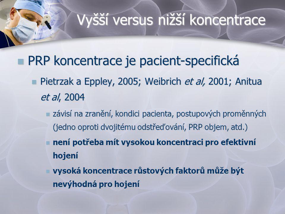Vyšší versus nižší koncentrace  PRP koncentrace je pacient-specifická  Pietrzak a Eppley, 2005; Weibrich et al, 2001; Anitua et al, 2004  závisí na