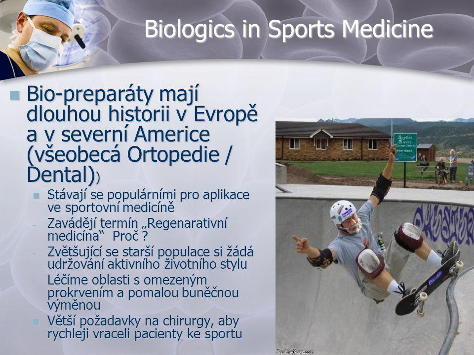 Biologics in Sports Medicine  Bio-preparáty mají dlouhou historii v Evropě a v severní Americe (všeobecá Ortopedie / Dental) )  Stávají se populární