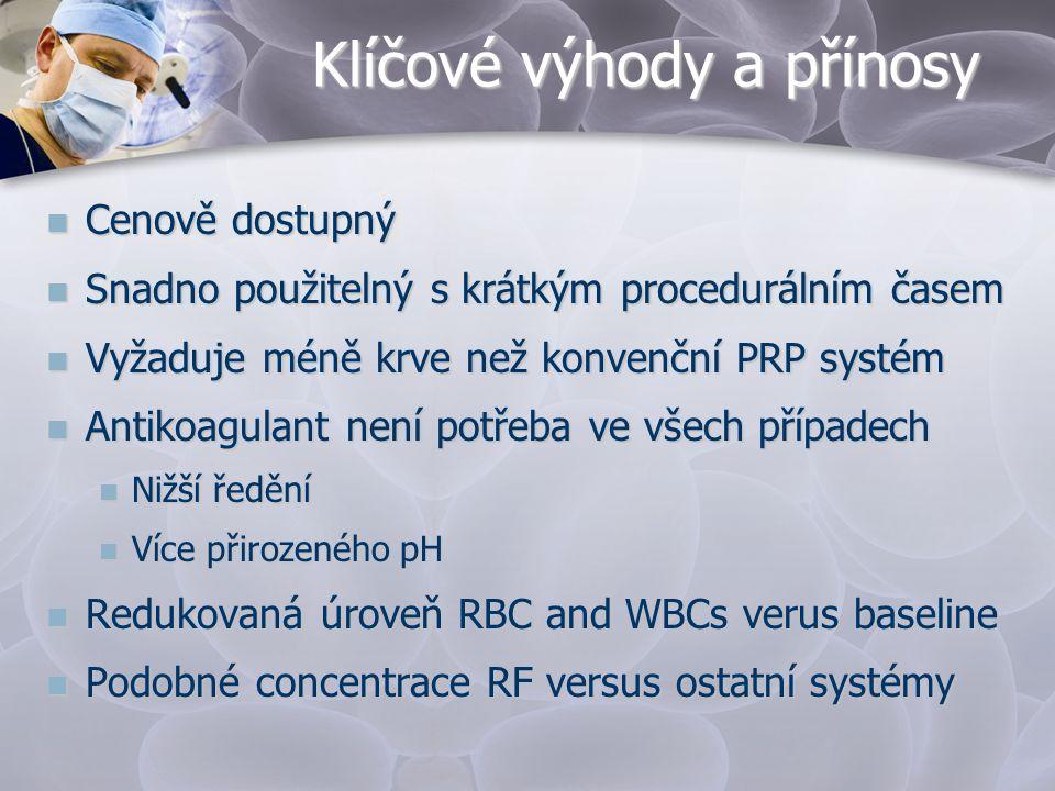 Klíčové výhody a přínosy  Cenově dostupný  Snadno použitelný s krátkým procedurálním časem  Vyžaduje méně krve než konvenční PRP systém  Antikoagu
