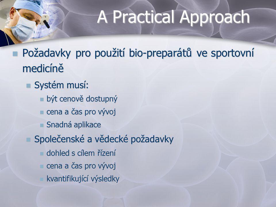 A Practical Approach  Požadavky pro použití bio-preparátů ve sportovní medicíně  Systém musí:  být cenově dostupný  cena a čas pro vývoj  Snadná