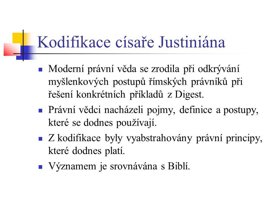 Kodifikace císaře Justiniána  Moderní právní věda se zrodila při odkrývání myšlenkových postupů římských právníků při řešení konkrétních příkladů z D