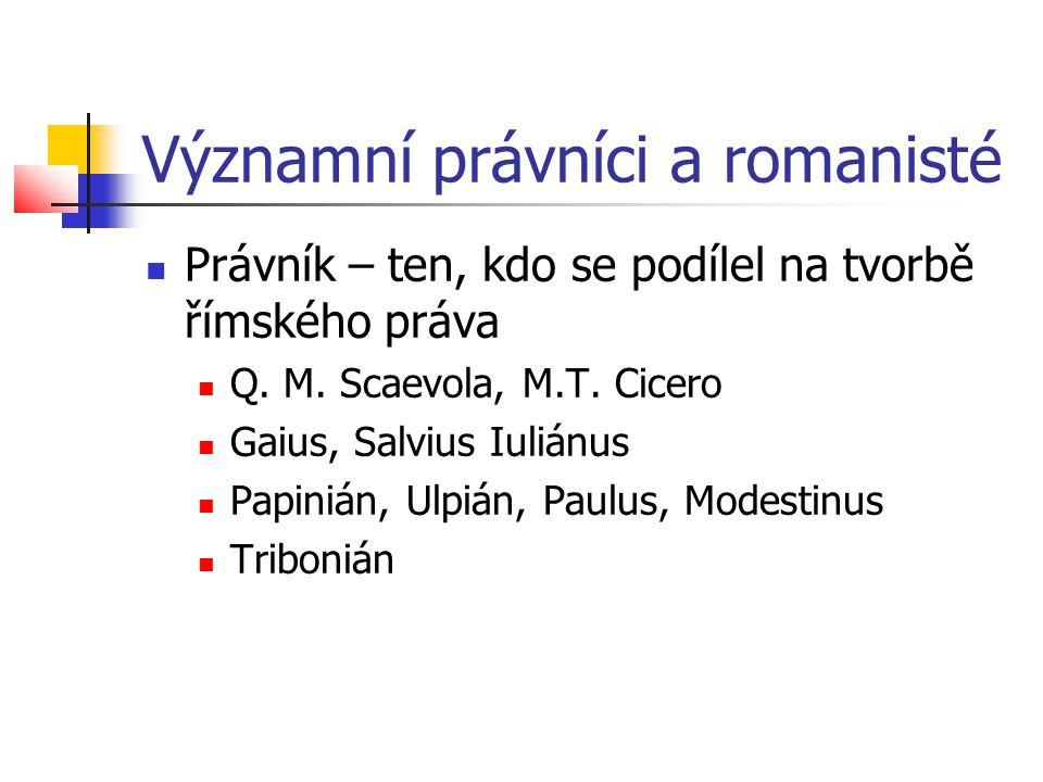 Významní právníci a romanisté  Právník – ten, kdo se podílel na tvorbě římského práva  Q. M. Scaevola, M.T. Cicero  Gaius, Salvius Iuliánus  Papin