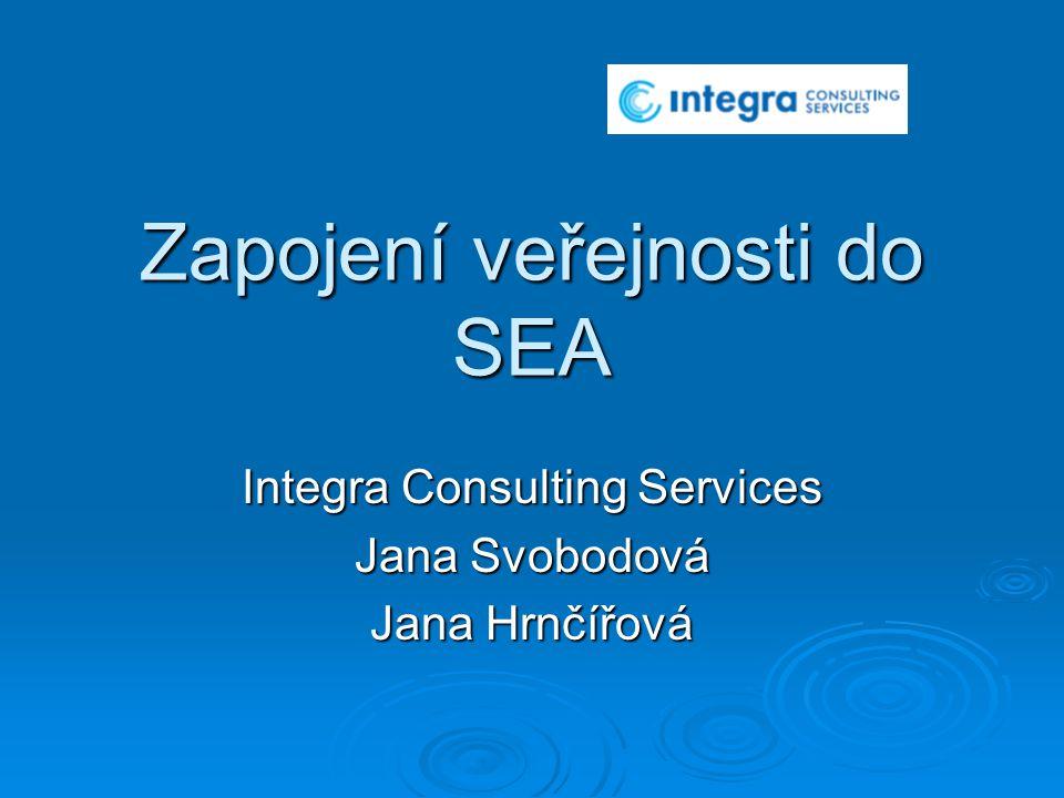 Zapojení veřejnosti do SEA Integra Consulting Services Jana Svobodová Jana Hrnčířová
